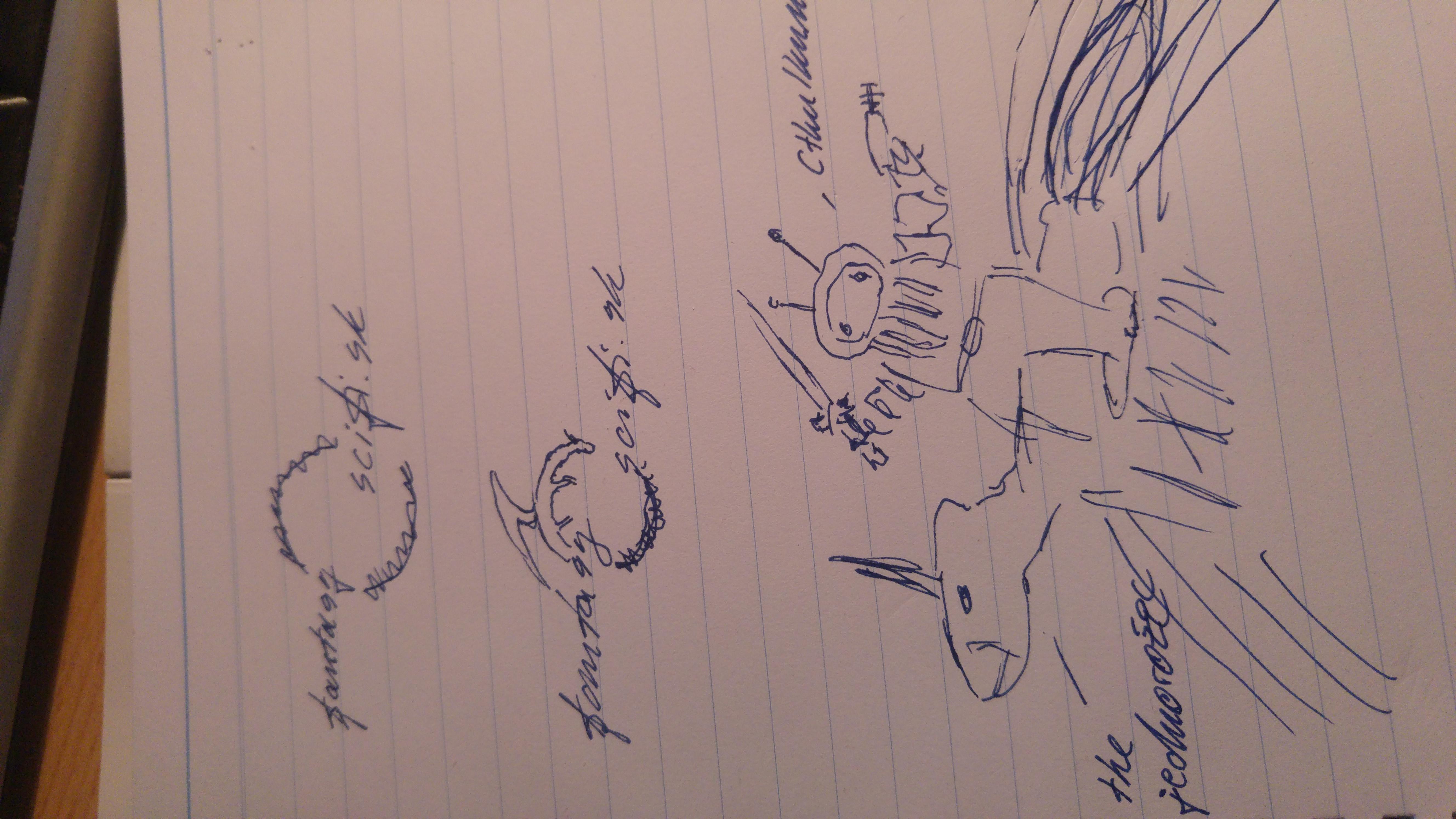 navrh loga. zhora moznost c 1. pod tym moznost c 2 aj so zakomponovanym drakom v kruhu. Dole moznost c 3 - cthulhunaut na space unicorne (heh) s mecom a laserom.