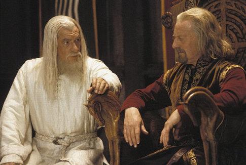 Rohanské knieža Theoden a Gandalf