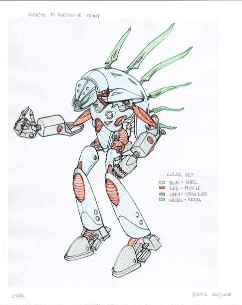 Bionicle: Mask of Light - Rakshi - dizajnérska kresba so základnými farbami