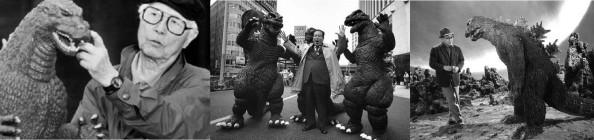 Otcovia Godzilly: Zľava Ishiró Honda, Tomoyuki Tanaka a Eiji Tsuburaya.