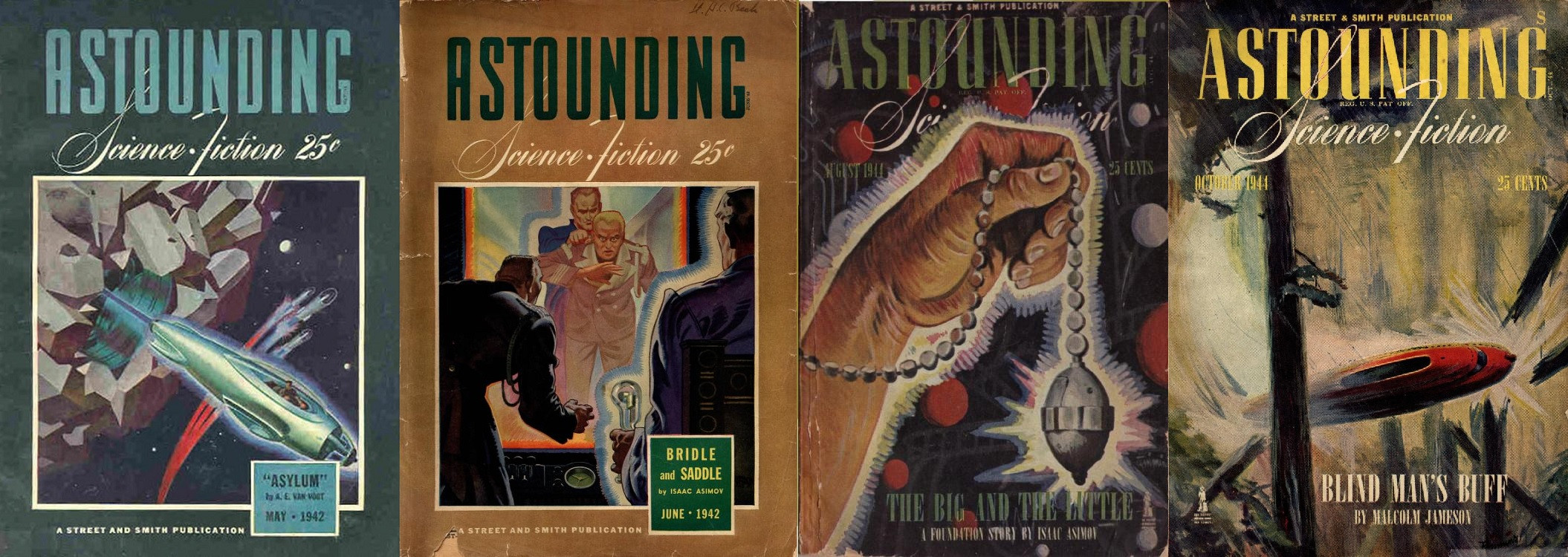 Prvé vydanie Nadácie v časopise  Astounding Science fiction. Kapitoly Foudation (neskôr premenované na The Encyclopedists) z mája 1942, Bridle and Saddle (The Mayors) z júna 1942, The Big and the Little (The Merchant Princes) z augusta 1944 a The Wedge (The Traders) z októbra 1944. Prvé vydanie Nadácie v časopise  Astounding Science fiction. Kapitoly Foudation (neskôr premenované na The Encyclopedists) z mája 1942, Bridle and Saddle (The Mayors) z júna 1942, The Big and the Little (The Merchant Princes) z augusta 1944 a The Wedge (The Traders) z októbra 1944.