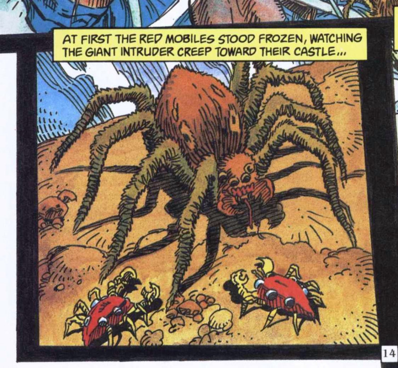 Piesočníci vs pavúk. Ukážka z komiksu Sandkings (DC Science Fiction Graphic Novel, 1987)